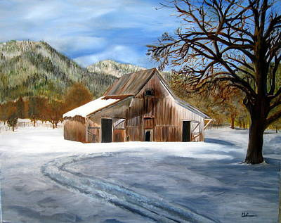 Painting - Shasta Winter Barn by LaVonne Hand