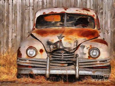Old Junk Car Painting - Shattered And Layed To Rest by L Wright