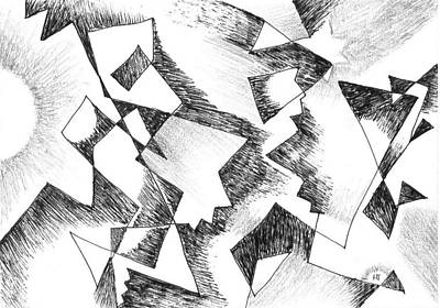 Impact Drawing - Shattered - Light Version by Helena Tiainen