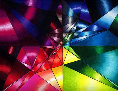 Geometrical Drawing - Shattered Rainbow Triangles Optical Art by Nalinne Jones