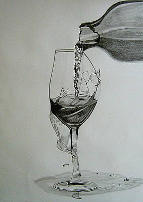 Pouring Wine Drawing - Shattered by Tammy Hough