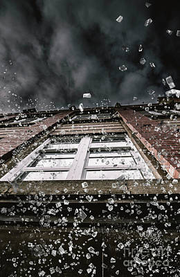 Violence Photograph - Shattering Pieces Of Glass Falling From Window by Jorgo Photography - Wall Art Gallery