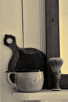 Shaving Brush And Mug Art Print by Karen Hanley Colbert