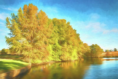 Photograph - Shaw Nature Reserve Pinetum Lake Photo Painting 7r2_dsc2617_10242017 by Greg Kluempers