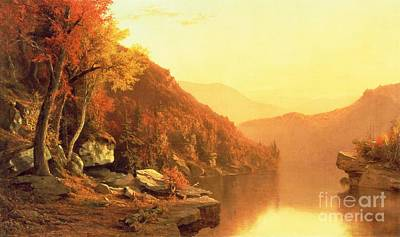River Painting - Shawanagunk Mountains by Jervis McEntee
