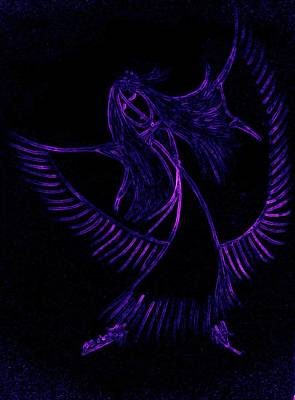 Indian Cherokee Digital Art - Shawl Dancer Purple Neon by Dara