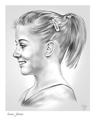 Shawn Drawing - Shawn Johnson by Greg Joens