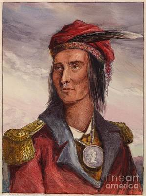 Landmarks Painting Royalty Free Images - Shawnee chief Tecumseh Royalty-Free Image by MotionAge Designs