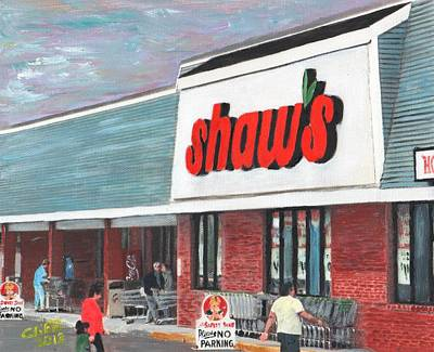 Painting - Shaw's Supermarket 1992 by Cliff Wilson