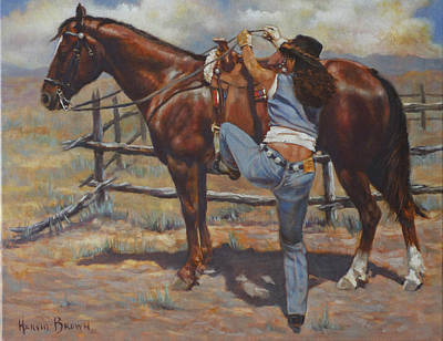 Shawtie-butt And Cowboy Art Print by Harvie Brown