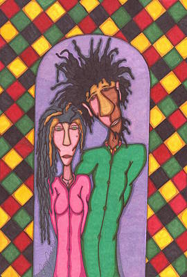 Rasta Drawing - She And Me by Jerry Ray Orr
