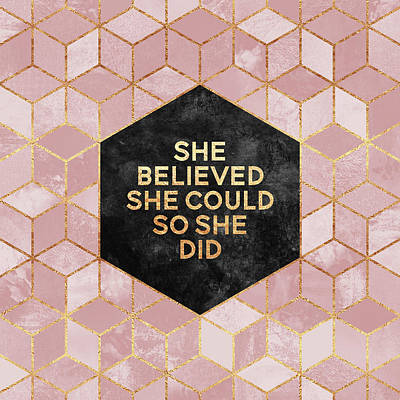 Typography Digital Art - She Believed She Could by Elisabeth Fredriksson
