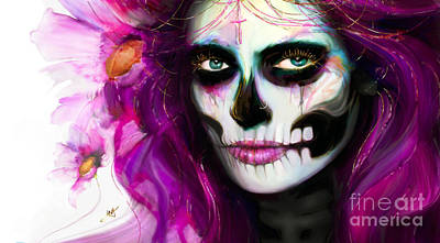 Digital Art - She, Dia De Los Muertos by Jaimy Mokos