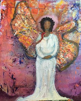 Painting - She Didn't Know If She Were A Butterfly Or An Angel by Brenda Robinson