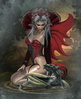 Digital Art - She Dragon by Ali Oppy