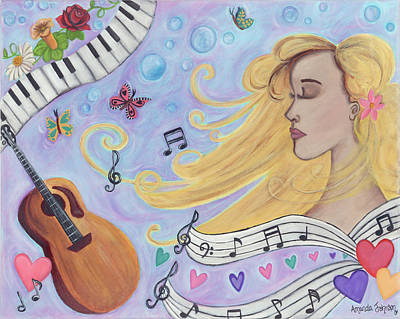 Painting - She Dreams In Music by Amanda Johnson