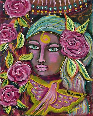 Wall Art - Painting - She Grows Beauty by Evelyne Verret
