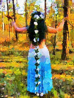 Impressionism Mixed Media - She Had Flowers In Her Hair by Georgiana Romanovna