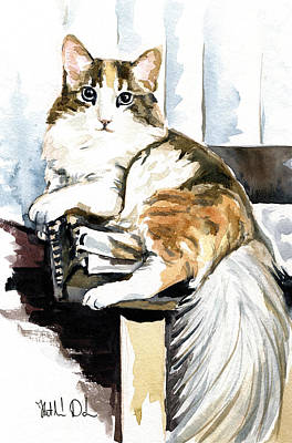 Painting - She Has Got The Look - Cat Portrait by Dora Hathazi Mendes