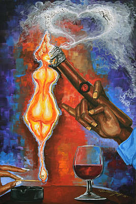 Brandy Painting - She Lights His Fire by The Art of DionJa'Y