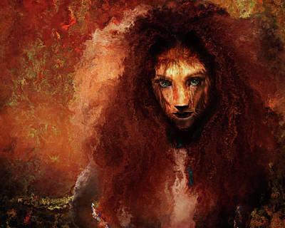 She Lion Print by Terry Fleckney