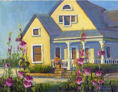 Painting - She Loves Hollyhocks. by Konnie Kim