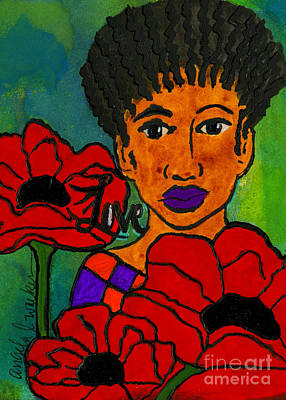 Mixed Media - She Loves Poppies by Angela L Walker