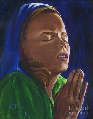 Painting - She Prays by Gail Finn