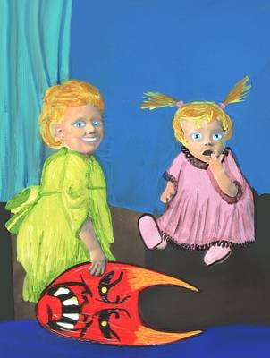 Painting - She Scared Her Sister With The Devil Mask by JoLynn Potocki