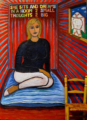 Woman Painting - She Sits And Dreams In A Room 2 Small Thoughts 2 Big by Susan Stewart