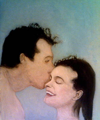 Painting - She Smiles As He Kisses Her Forehead by Peter Gartner