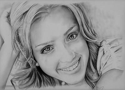 Jessica Alba Drawing - She Smiles by Jessica Renaud