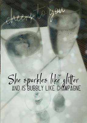 Photograph - She Sparkles Quote by JAMART Photography