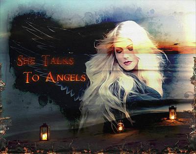 Digital Art - She Talks To Angels  by Michael Damiani