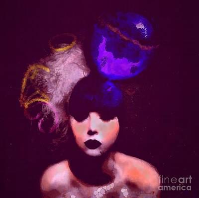 Balck Art Painting - She Thinks  by Catherine Lott
