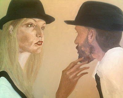 She Touches His Beard And Looks Art Print