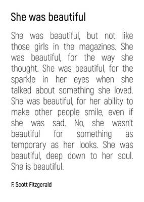 Photograph - She Was Beautiful By F. Scott Fitzgerald 2 #minimalism #poem by Andrea Anderegg