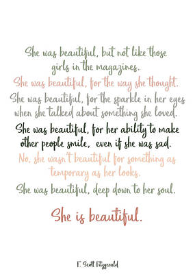 Photograph - She Was Beautiful By F. Scott Fitzgerald 3 #minimalism #poem by Andrea Anderegg