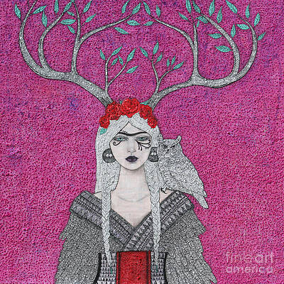 Art Print featuring the mixed media She Wears The Crown by Natalie Briney