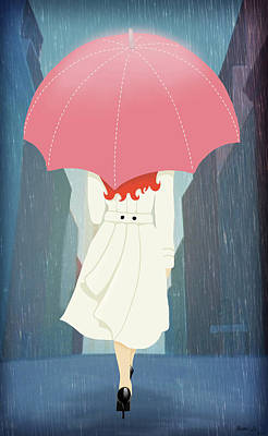 Raincoats Painting - She Went Walking In The Rain by Little Bunny Sunshine