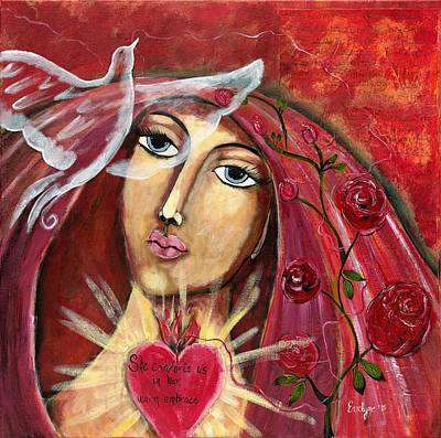 Wall Art - Painting - She Who Comforts Us by Evelyne Verret