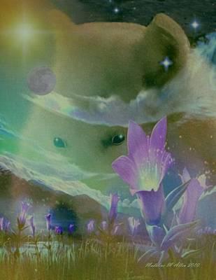 Purple Flowers Digital Art - She Wolf by Madeline  Allen - SmudgeArt