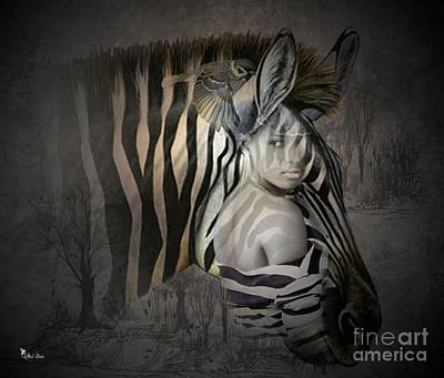 Digital Art - She Zebra by Ali Oppy