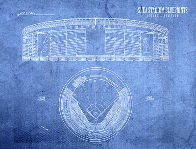 New York Mets Stadium Mixed Media - Shea Stadium New York Mets Baseball Field Blueprints by Design Turnpike