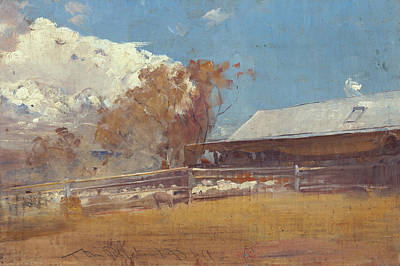 Australian Landscape Painting - Shearing Shed, Newstead by Tom Roberts