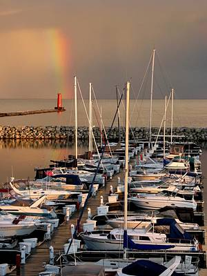 Photograph - Sheboygan Harbor Rainbow by Keith Stokes