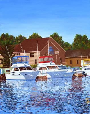 Painting - Sheboygan River Marina by Hugh Blanding