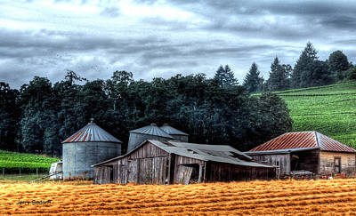 Photograph - Shed And Grain Bins 17238 Cr by Jerry Sodorff