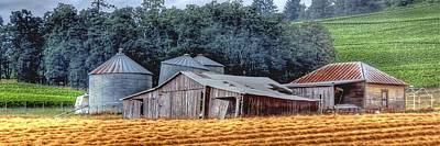 Photograph - Shed And Grain Bins 17238 P by Jerry Sodorff