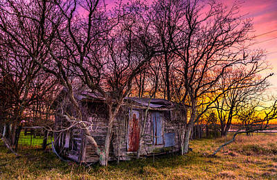 Shed And Sunset Art Print by Micah Goff